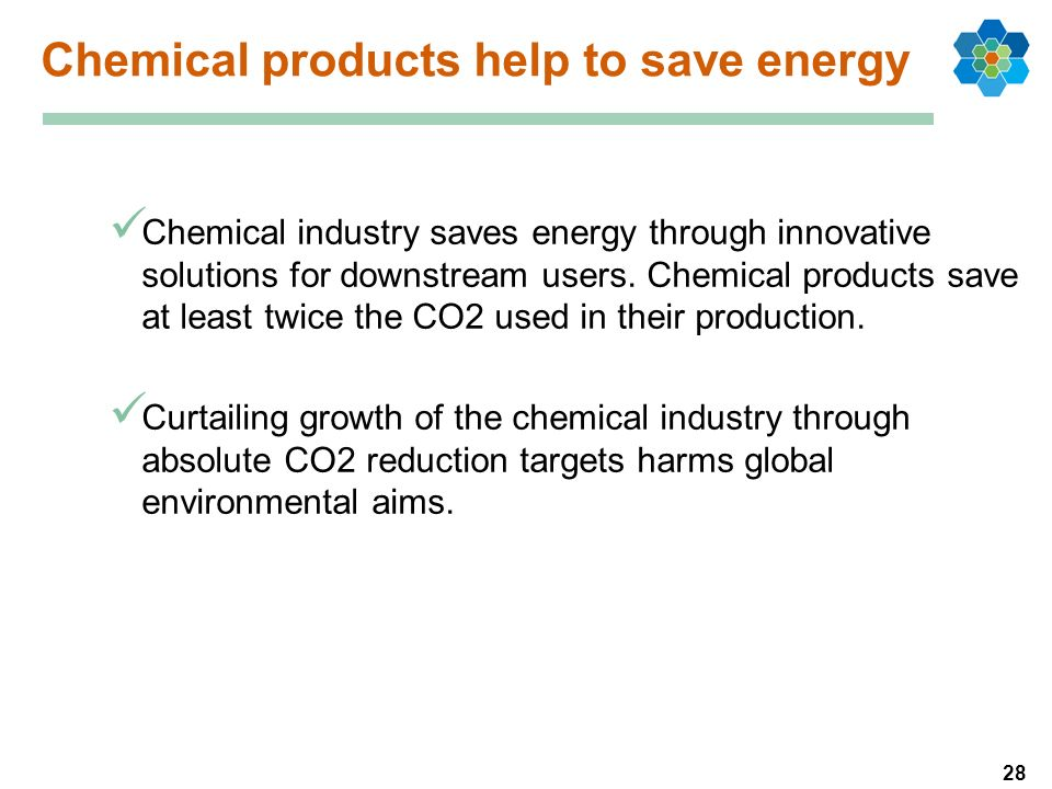 28 Chemical products help to save energy Chemical industry saves energy through innovative solutions for downstream users. Chemical products save at l