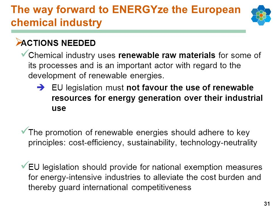 31 The way forward to ENERGYze the European chemical industry ACTIONS NEEDED Chemical industry uses renewable raw materials for some of its processes