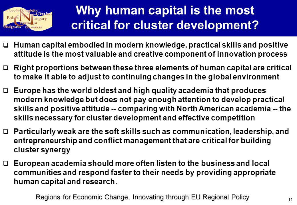 Regions for Economic Change. Innovating through EU Regional Policy 11 Why human capital is the most critical for cluster development? Human capital em