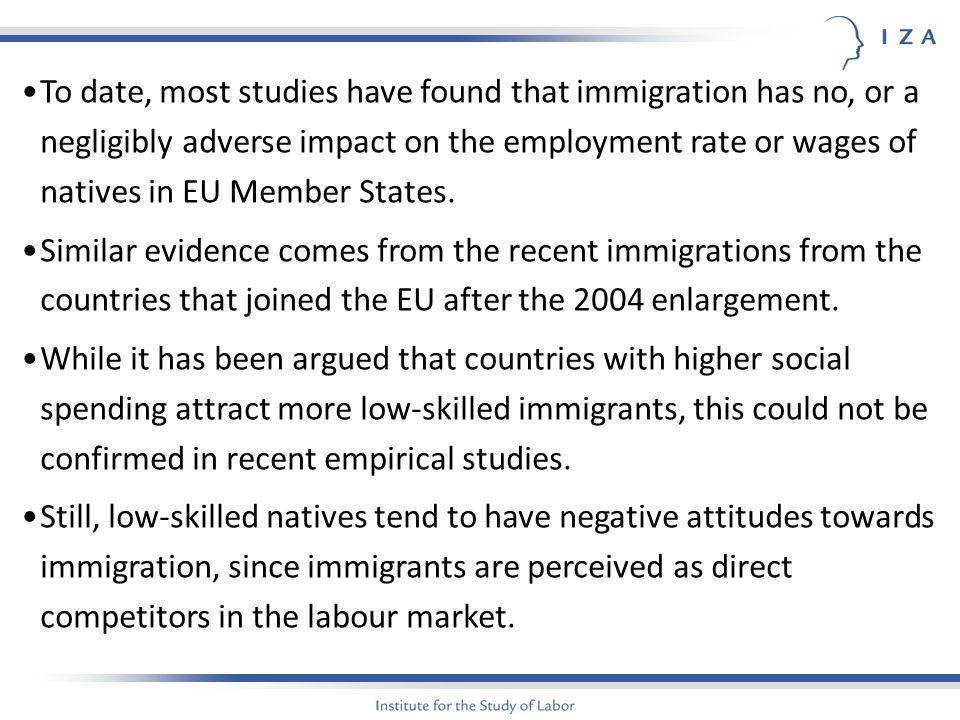 To date, most studies have found that immigration has no, or a negligibly adverse impact on the employment rate or wages of natives in EU Member States.