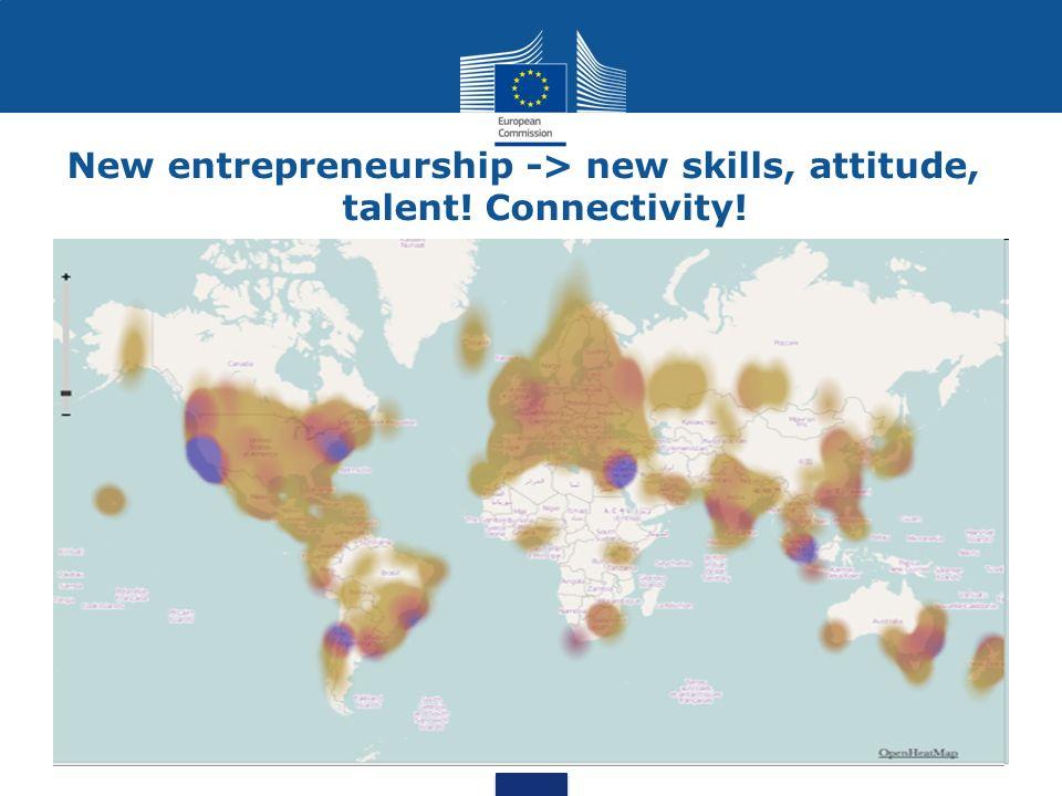 New entrepreneurship -> new skills, attitude, talent! Connectivity!