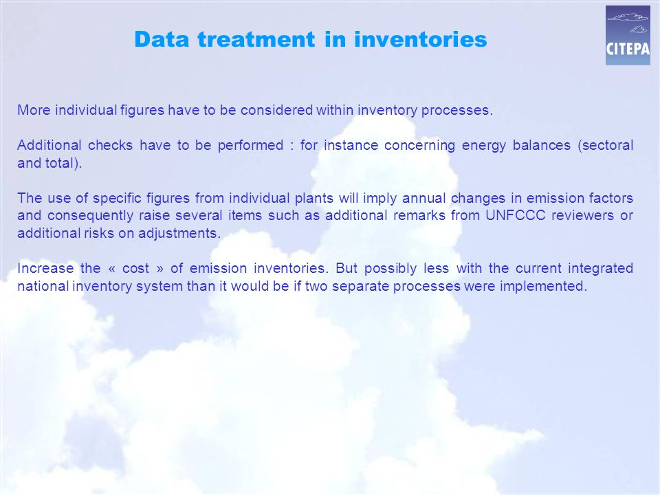 Data treatment in inventories More individual figures have to be considered within inventory processes.