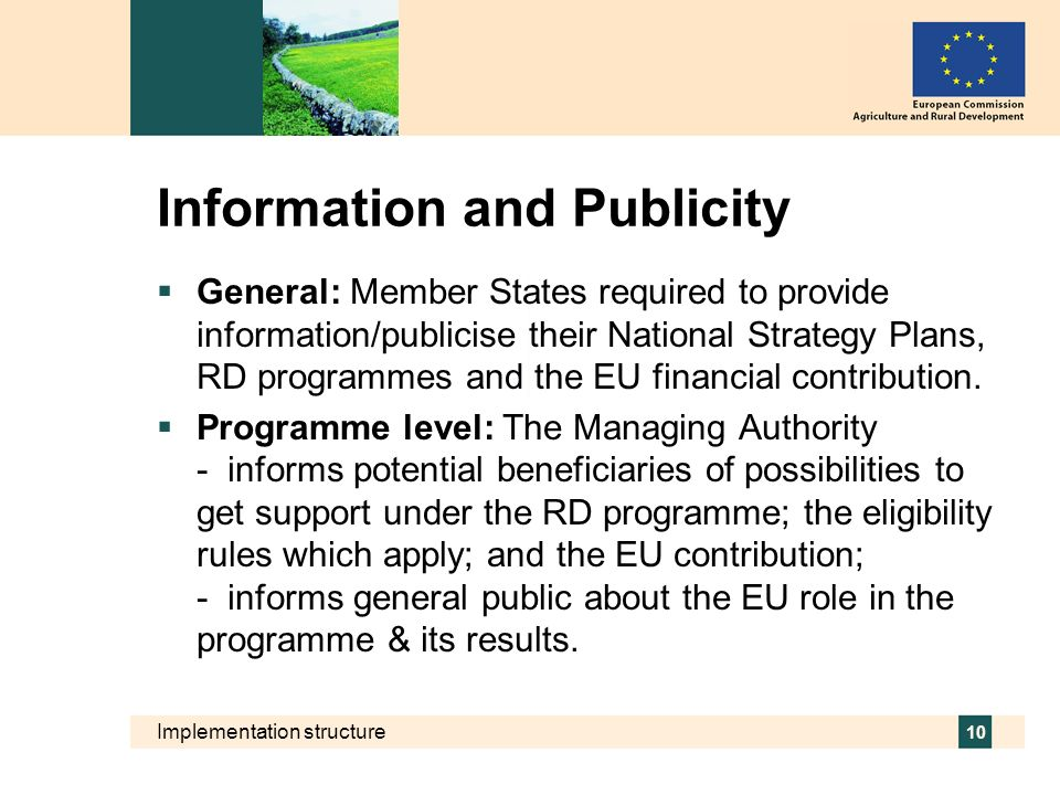 Implementation structure 10 Information and Publicity General: Member States required to provide information/publicise their National Strategy Plans,