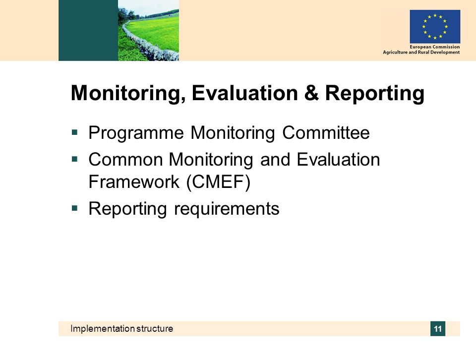 Implementation structure 11 Monitoring, Evaluation & Reporting Programme Monitoring Committee Common Monitoring and Evaluation Framework (CMEF) Report