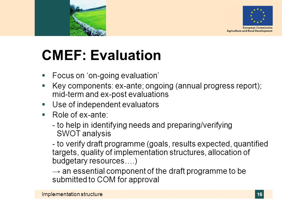 Implementation structure 16 CMEF: Evaluation Focus on on-going evaluation Key components: ex-ante; ongoing (annual progress report); mid-term and ex-p