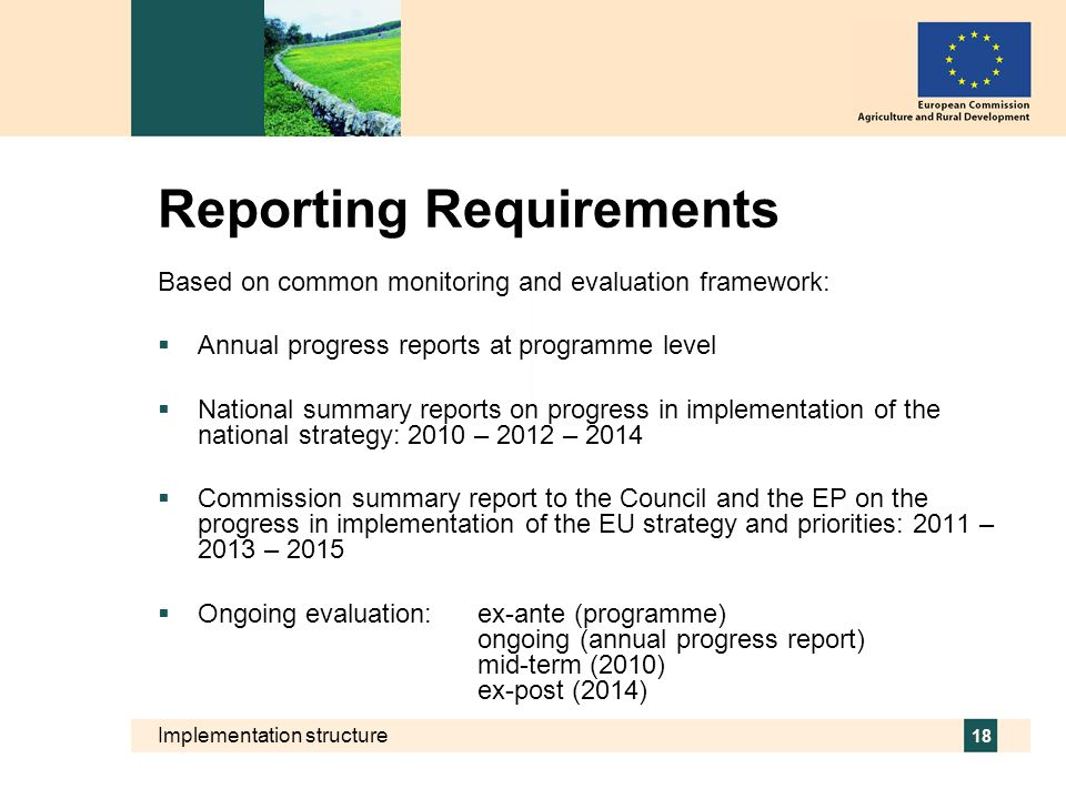 Implementation structure 18 Reporting Requirements Based on common monitoring and evaluation framework: Annual progress reports at programme level Nat