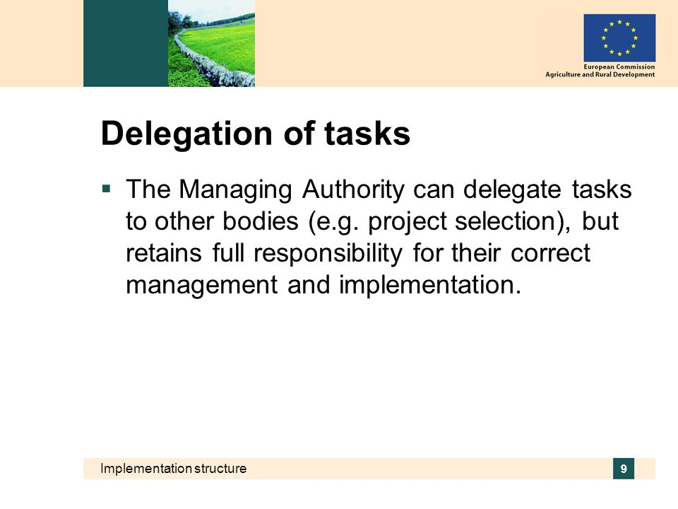 Implementation structure 9 Delegation of tasks The Managing Authority can delegate tasks to other bodies (e.g. project selection), but retains full re