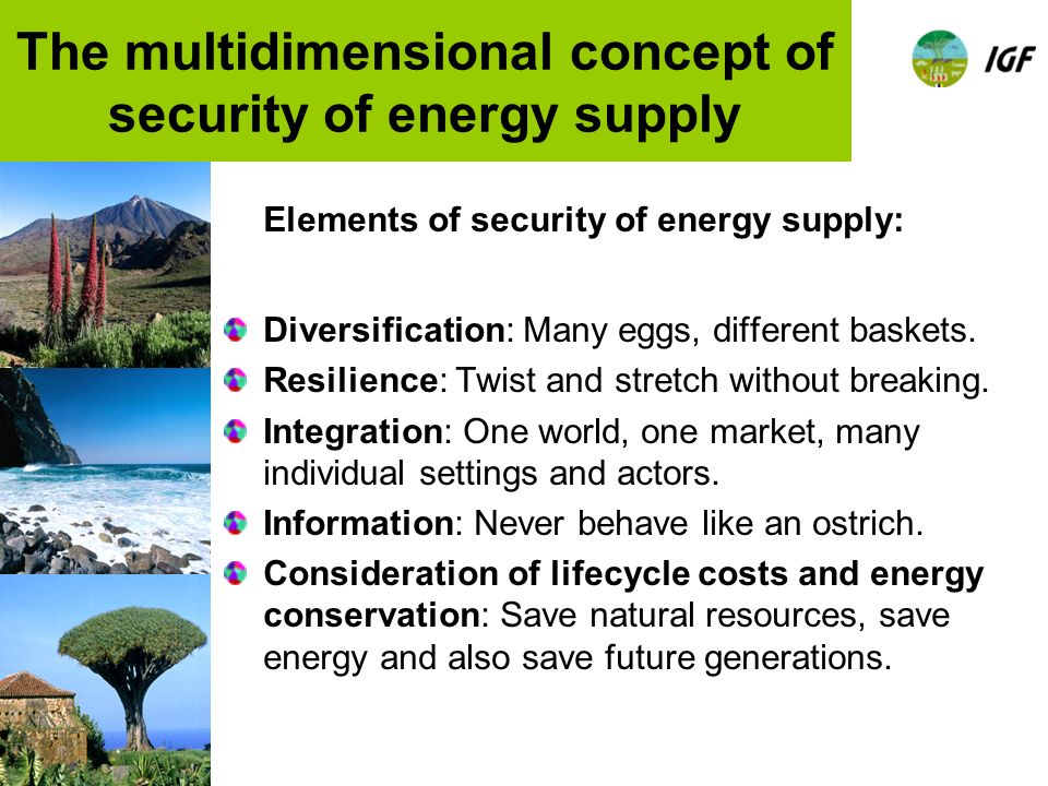 The multidimensional concept of security of energy supply Elements of security of energy supply: Diversification: Many eggs, different baskets.