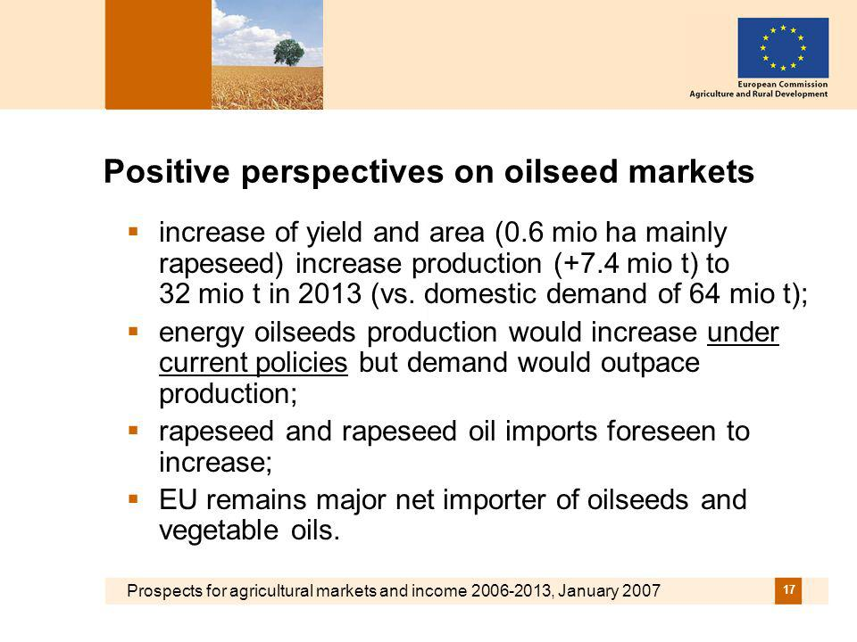 Prospects for agricultural markets and income 2006-2013, January 2007 17 Positive perspectives on oilseed markets increase of yield and area (0.6 mio ha mainly rapeseed) increase production (+7.4 mio t) to 32 mio t in 2013 (vs.