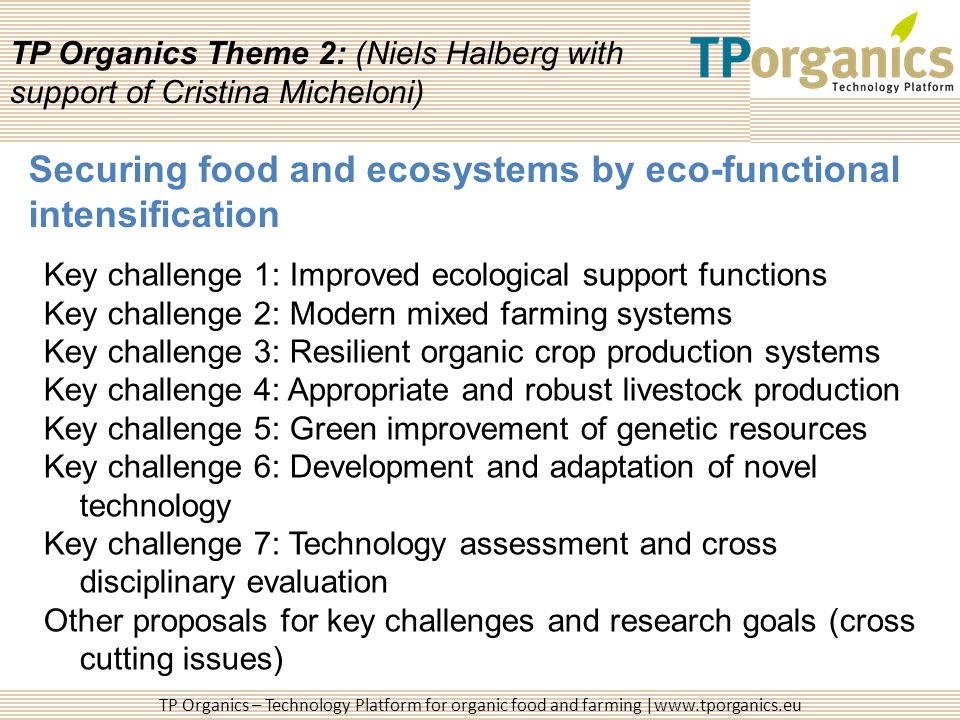 TP Organics – Technology Platform for organic food and farming |www.tporganics.eu TP Organics Theme 2: (Niels Halberg with support of Cristina Michelo