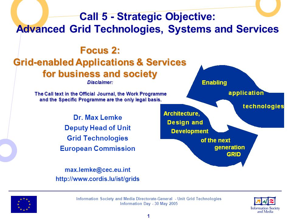 Information Society and Media Directorate-General - Unit Grid Technologies Information Day - 30 May 2005 1 Call 5 - Strategic Objective: Advanced Grid