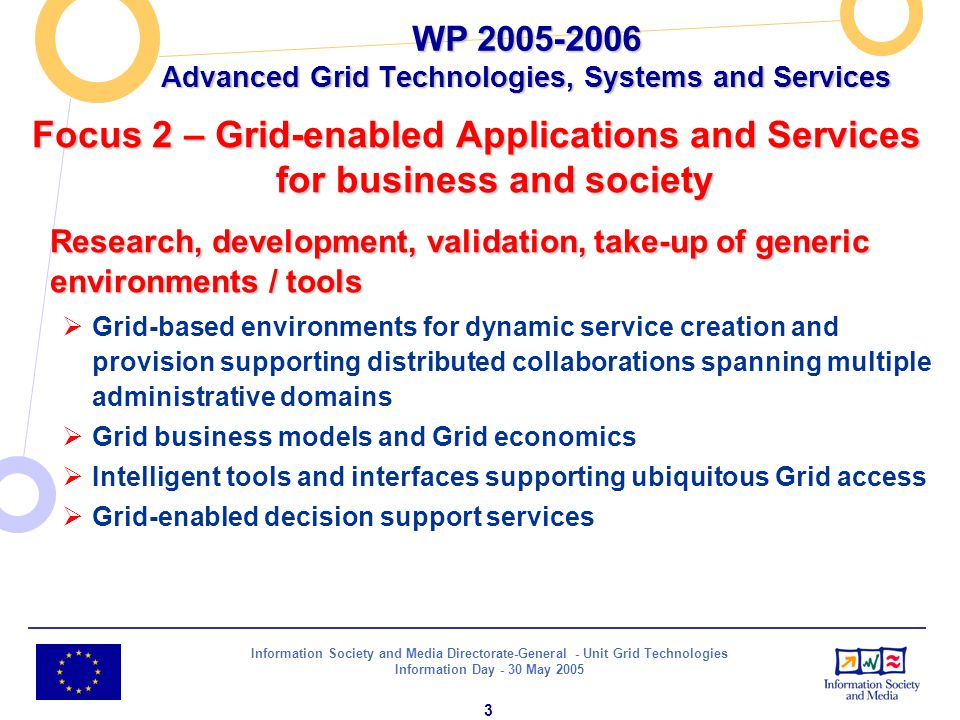 Information Society and Media Directorate-General - Unit Grid Technologies Information Day - 30 May 2005 3 Focus 2 – Grid-enabled Applications and Ser