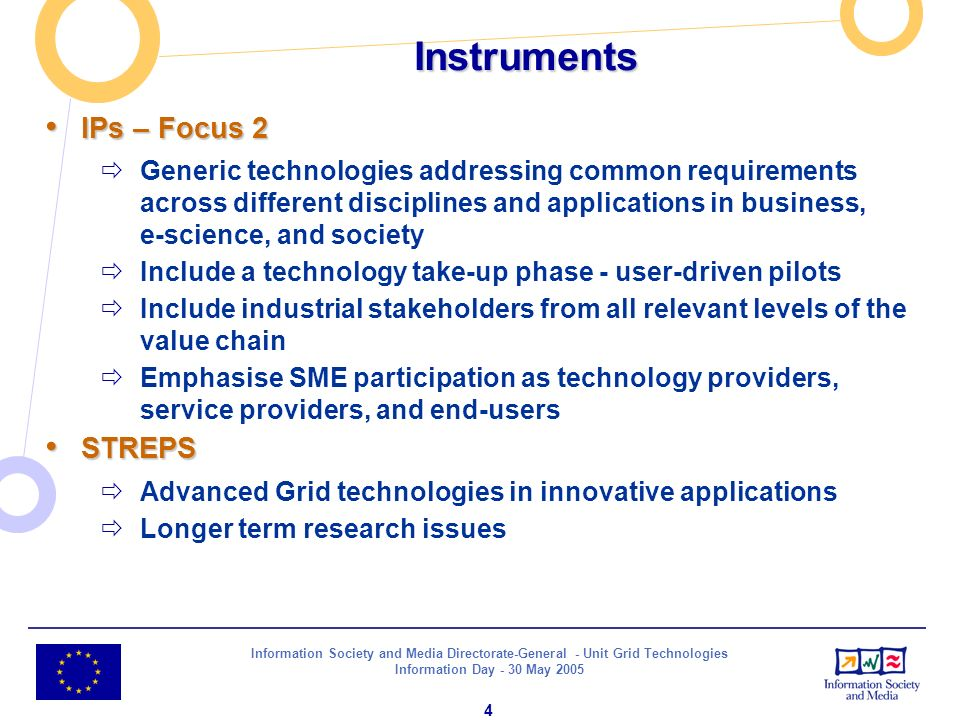 Information Society and Media Directorate-General - Unit Grid Technologies Information Day - 30 May 2005 4 Instruments IPs – Focus 2 IPs – Focus 2 Gen