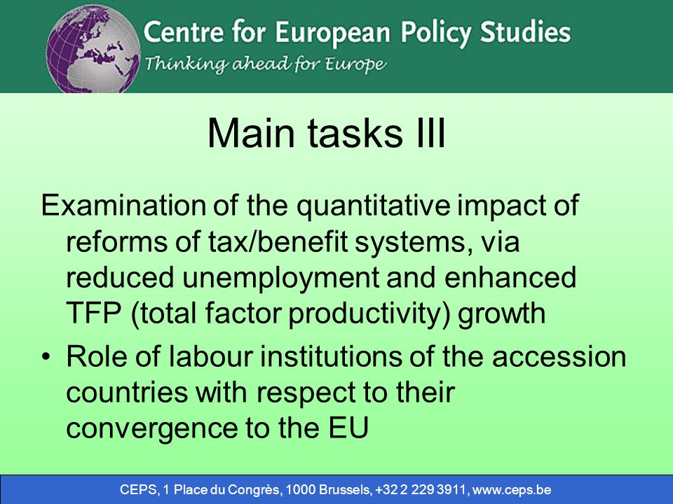 CEPS, 1 Place du Congrès, 1000 Brussels, +32 2 229 3911, www.ceps.be Main tasks III Examination of the quantitative impact of reforms of tax/benefit s