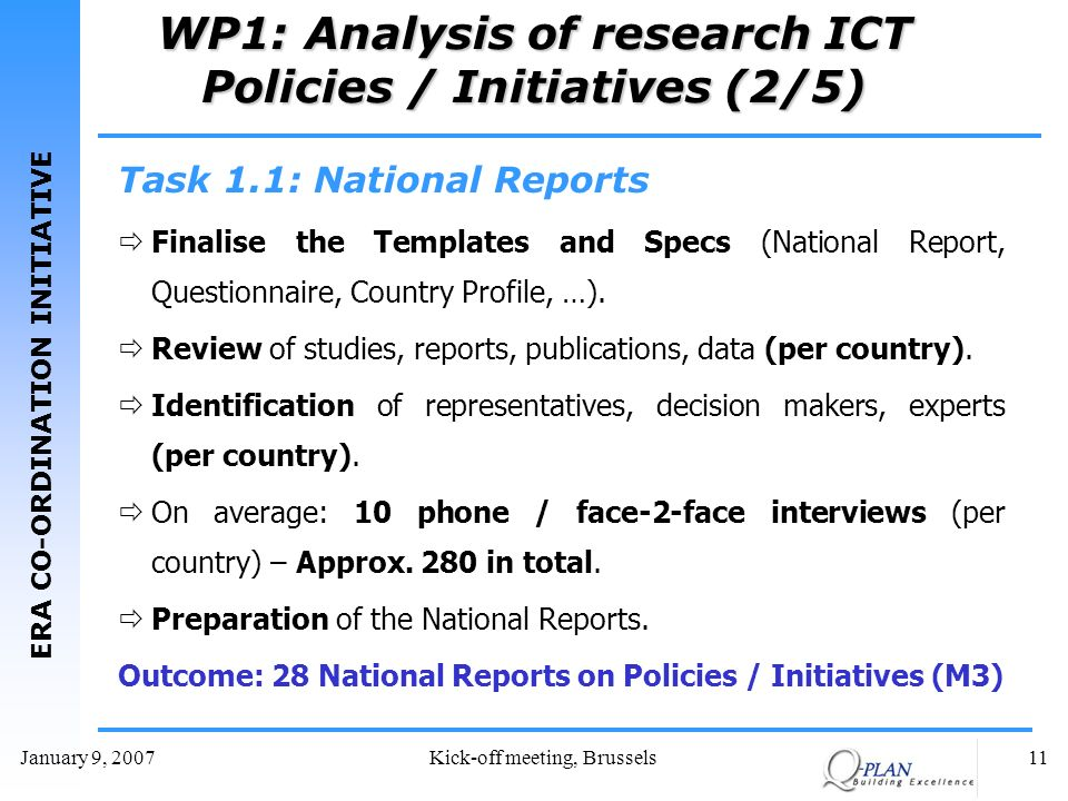 ERA CO-ORDINATION INITIATIVE January 9, 2007Kick-off meeting, Brussels11 WP1: Analysis of research ICT Policies / Initiatives (2/5) Task 1.1: National Reports Finalise the Templates and Specs (National Report, Questionnaire, Country Profile, …).