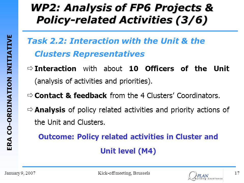 ERA CO-ORDINATION INITIATIVE January 9, 2007Kick-off meeting, Brussels17 WP2: Analysis of FP6 Projects & Policy-related Activities (3/6) Task 2.2: Interaction with the Unit & the Clusters Representatives Interaction with about 10 Officers of the Unit (analysis of activities and priorities).