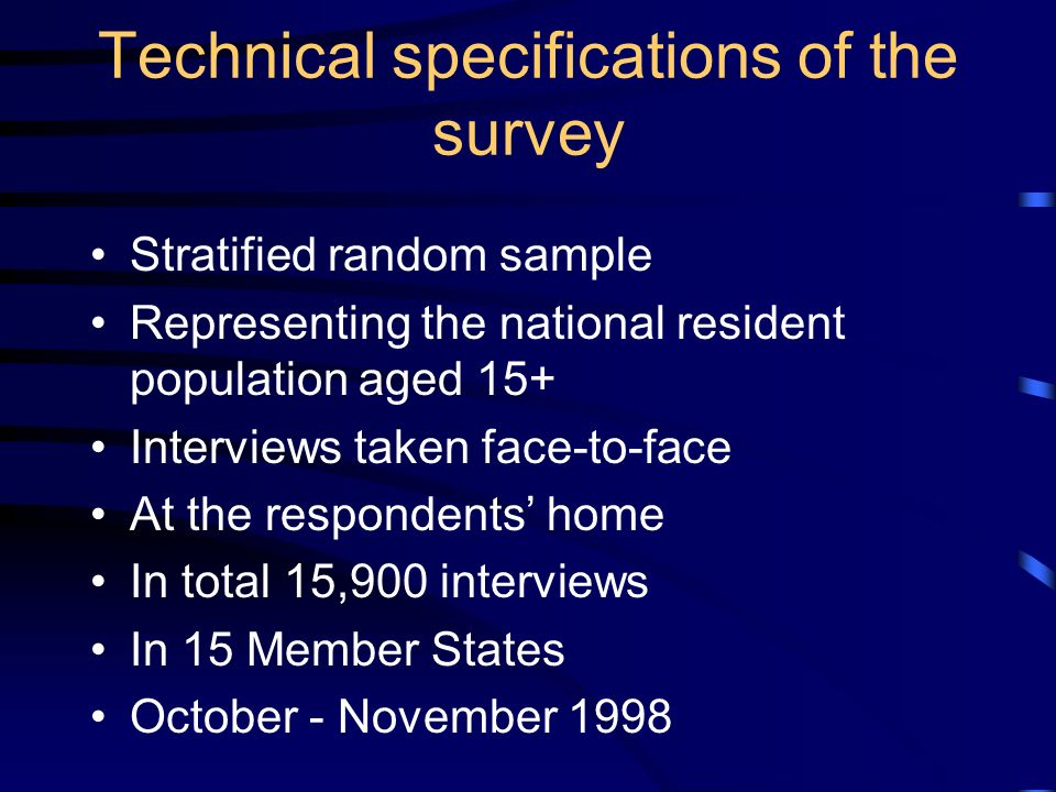 Technical specifications of the survey Stratified random sample Representing the national resident population aged 15+ Interviews taken face-to-face At the respondents home In total 15,900 interviews In 15 Member States October - November 1998