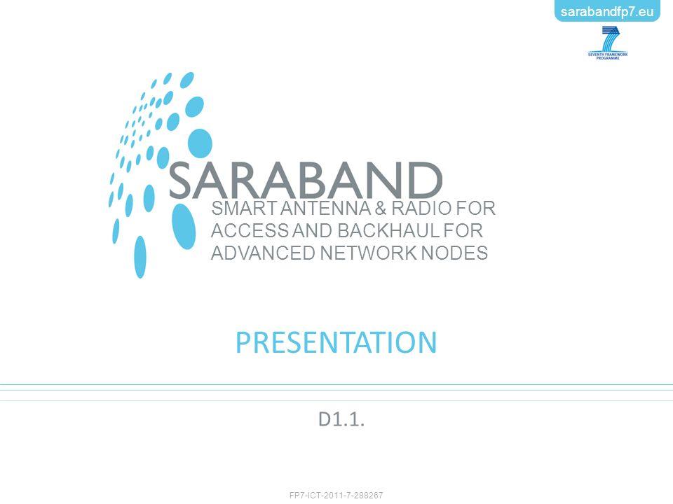 FP7-ICT-2011-7-288267 sarabandfp7.eu SMART ANTENNA & RADIO FOR ACCESS AND BACKHAUL FOR ADVANCED NETWORK NODES sarabandfp7.eu FP7-ICT-2011-7-288267 PRESENTATION D1.1.