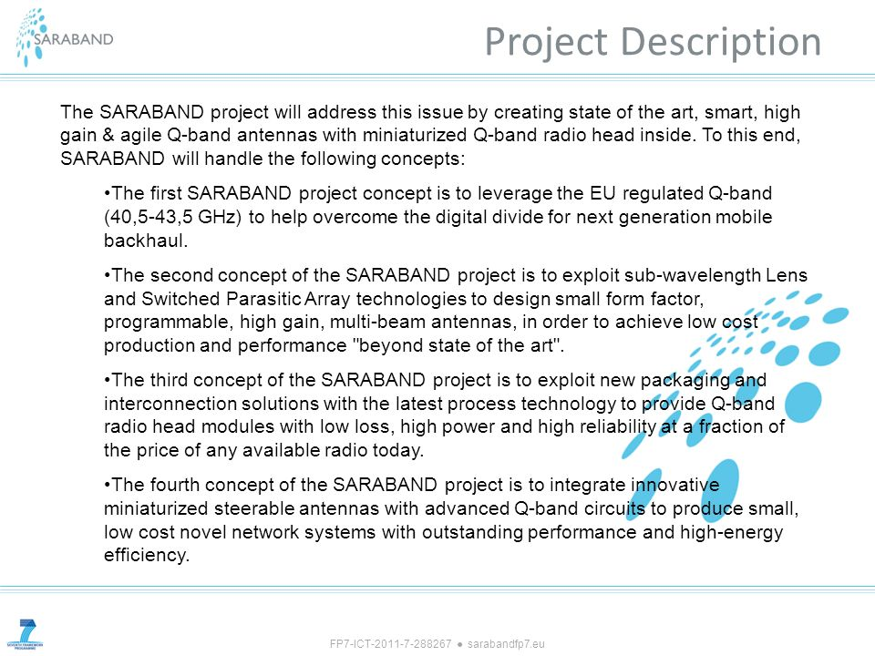 FP7-ICT-2011-7-288267 sarabandfp7.eu Project Description The SARABAND project will address this issue by creating state of the art, smart, high gain &