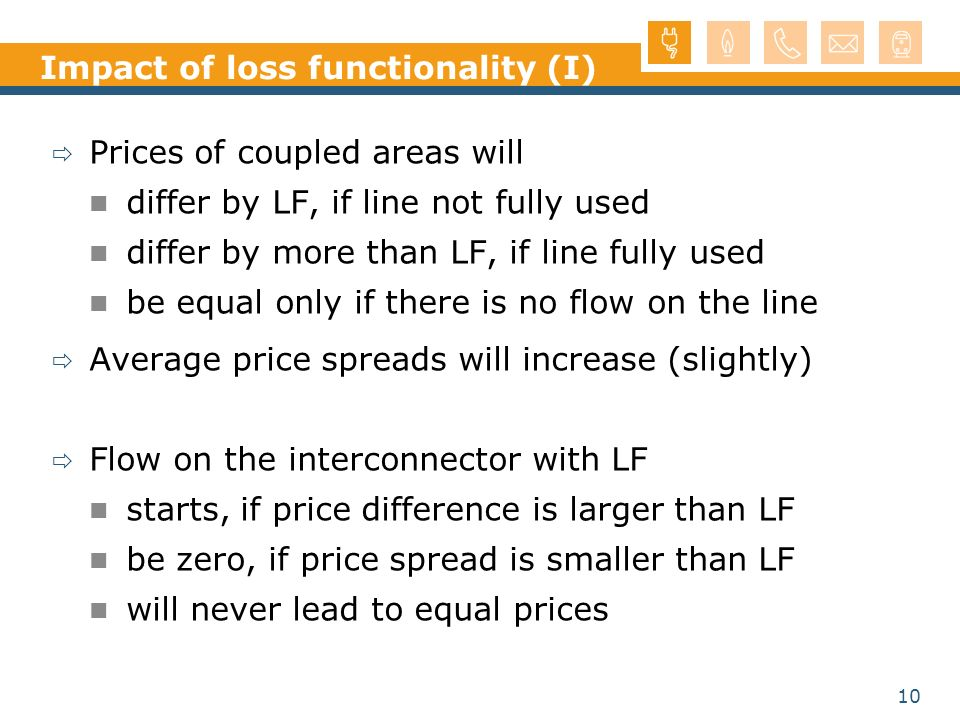 10 Impact of loss functionality (I) Prices of coupled areas will differ by LF, if line not fully used differ by more than LF, if line fully used be equal only if there is no flow on the line Average price spreads will increase (slightly) Flow on the interconnector with LF starts, if price difference is larger than LF be zero, if price spread is smaller than LF will never lead to equal prices