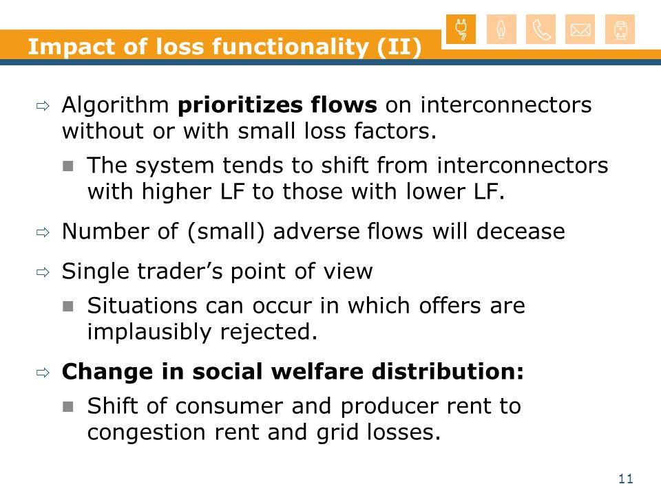 11 Impact of loss functionality (II) Algorithm prioritizes flows on interconnectors without or with small loss factors. The system tends to shift from
