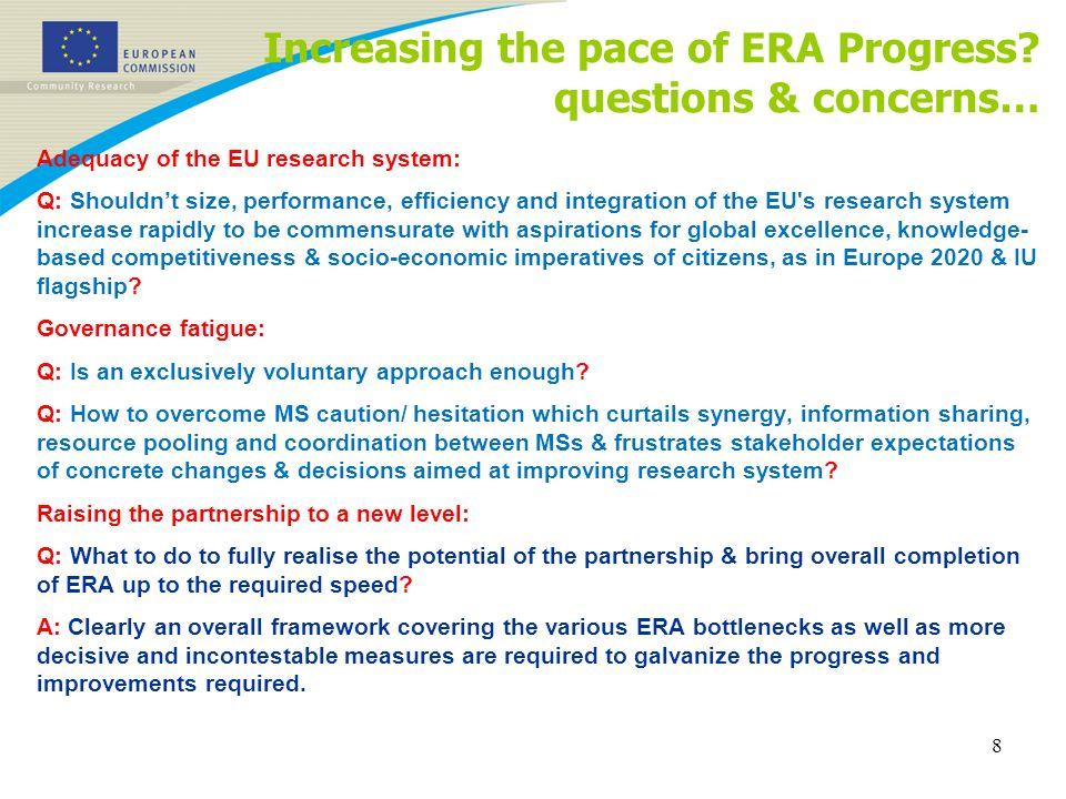 Increasing the pace of ERA Progress.