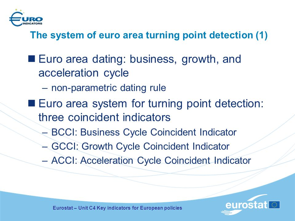 The system of euro area turning point detection (1) Euro area dating: business, growth, and acceleration cycle –non-parametric dating rule Euro area system for turning point detection: three coincident indicators –BCCI: Business Cycle Coincident Indicator –GCCI: Growth Cycle Coincident Indicator –ACCI: Acceleration Cycle Coincident Indicator Eurostat – Unit C4 Key indicators for European policies