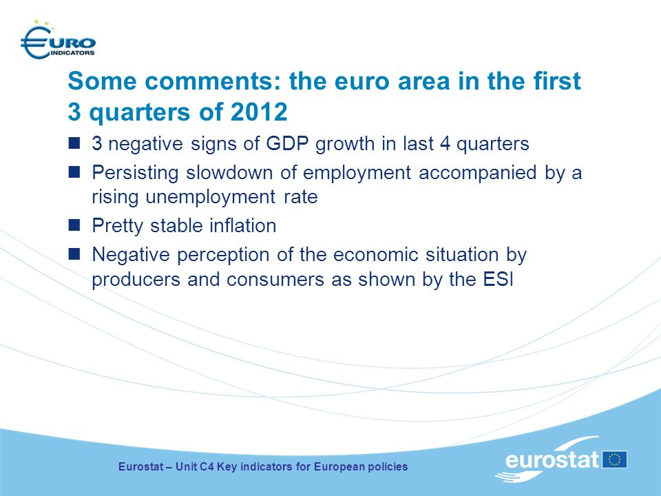 Some comments: the euro area in the first 3 quarters of 2012 3 negative signs of GDP growth in last 4 quarters Persisting slowdown of employment accom