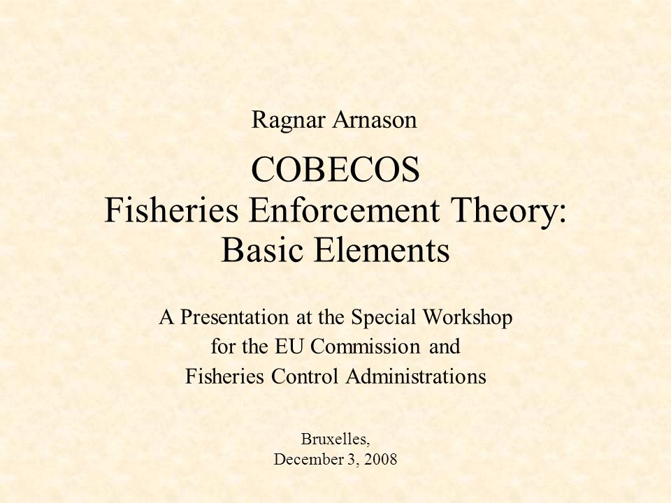 To apply theory: Empirical requirements 1.The private benefit function of fishing, B(q,x) 2.The shadow value of biomass, 3.The enforcement cost function, C(e) 4.The penalty function, (e) 5.The penalty structure, f(q-q*) Note: Items 1 & 2 come out of the usual bio- economic model of the fishery.