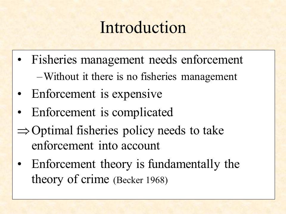 Model: Key Elements Social benefits of fishing: B(q,x)+ ·(G(x)-q) Shadow value of biomass Enforcement sector: Announced target:q* Enforcement effort:e Cost of enforcement:C(e) Probability of penalty: (e) Penalty function:f(q-q*) Private benefits of fishing:B(q,x)