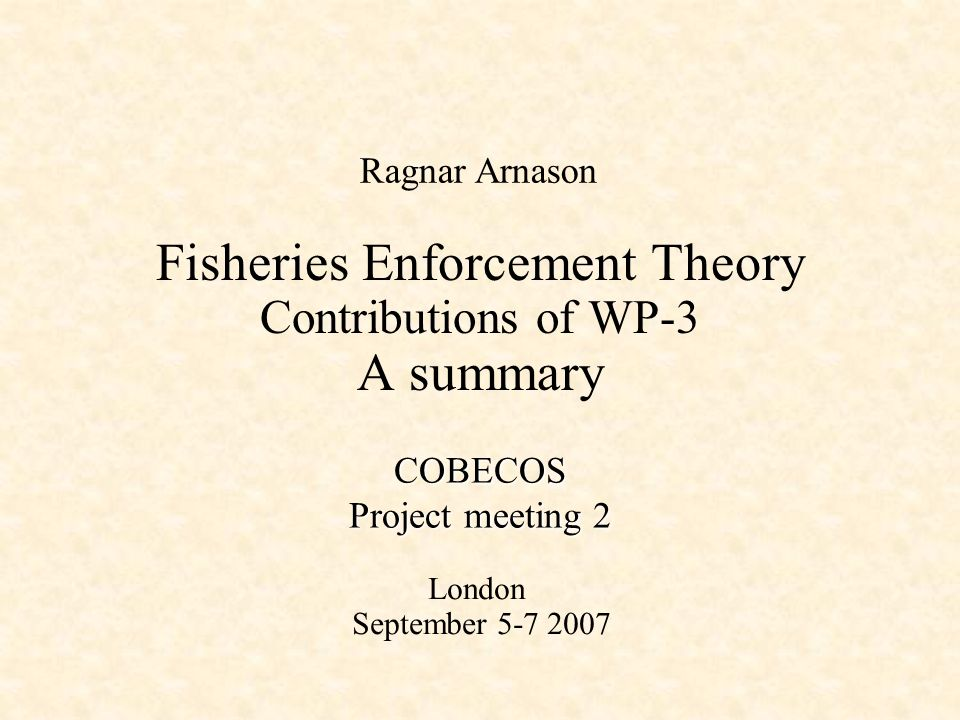 Fisheries Enforcement Theory Contributions of WP-3 A summary Ragnar Arnason COBECOS Project meeting 2 London September 5-7 2007