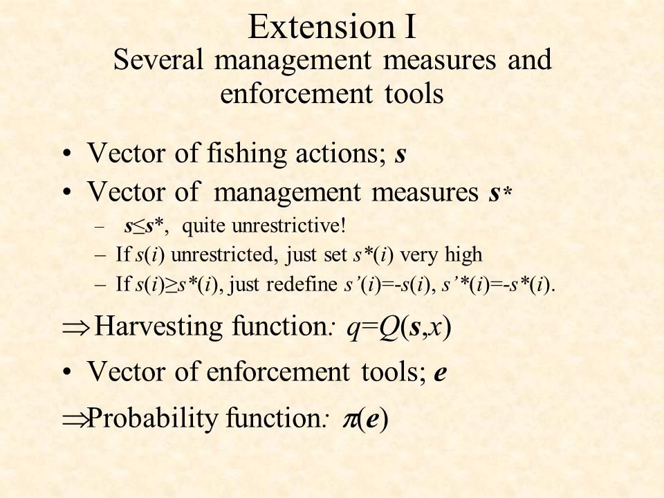 Extension I Several management measures and enforcement tools Vector of fishing actions; s Vector of management measures s * – ss*, quite unrestrictive.