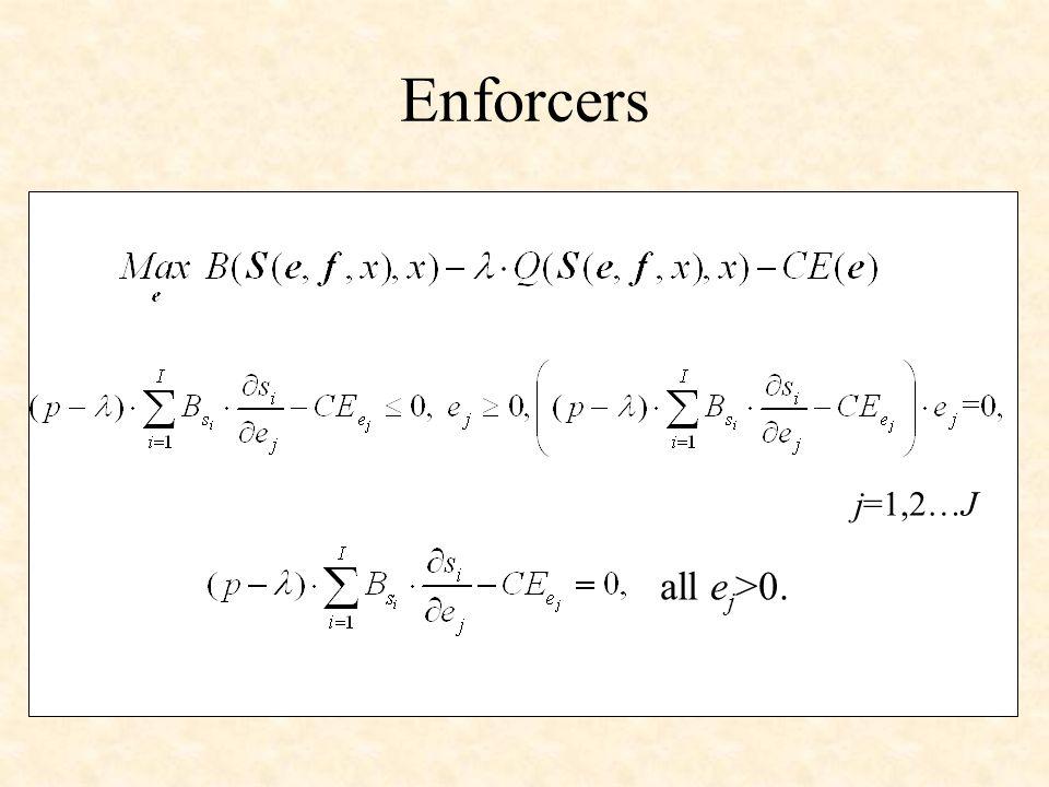 Enforcers j=1,2…J all e j >0.
