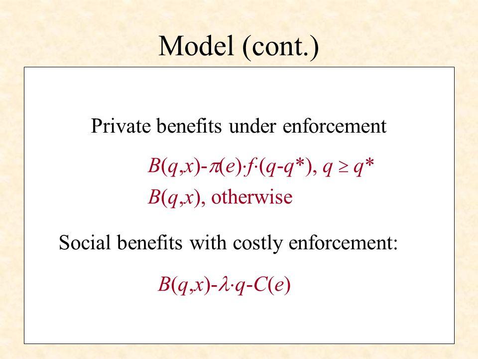 Private behaviour Maximization problem: Max B(q,x)- (e) f (q-q*) Enforcement response function: q=Q(e,f,x)q=Q(e,f,x) Necessary condition: B q (q,x)- (e) f=0 Can show: Q 1, Q 2 0