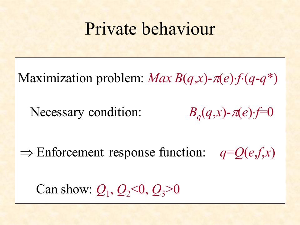 q e q* [lower f] [higher f] Free access q Enforcement response function