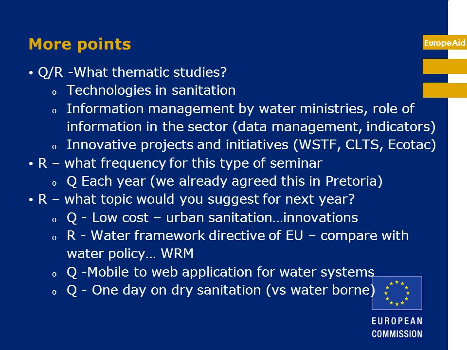 EuropeAid More points Q/R -What thematic studies.