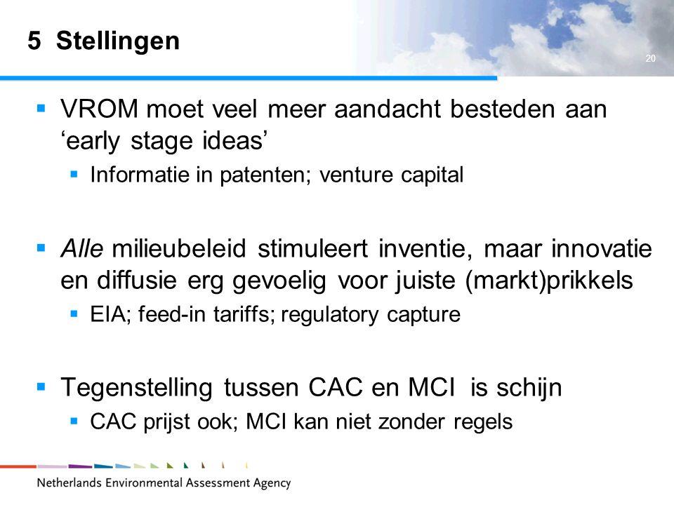 20 5 Stellingen VROM moet veel meer aandacht besteden aan early stage ideas Informatie in patenten; venture capital Alle milieubeleid stimuleert inventie, maar innovatie en diffusie erg gevoelig voor juiste (markt)prikkels EIA; feed-in tariffs; regulatory capture Tegenstelling tussen CAC en MCI is schijn CAC prijst ook; MCI kan niet zonder regels