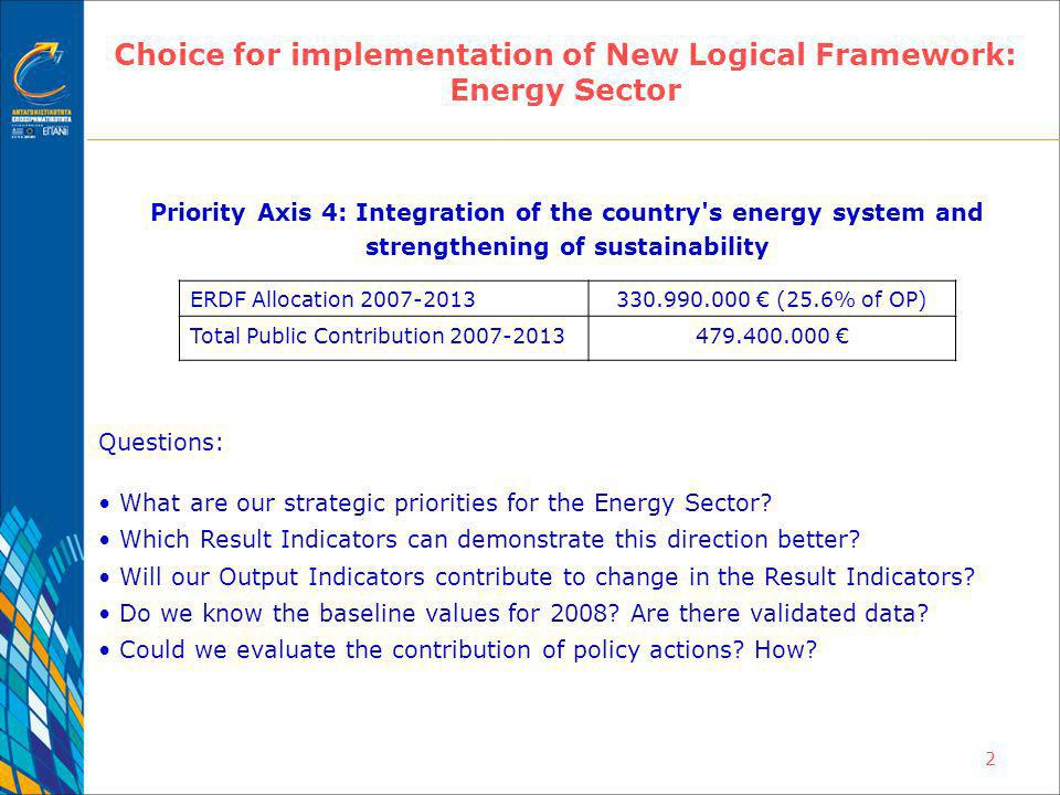 2 Choice for implementation of New Logical Framework: Energy Sector Priority Axis 4: Integration of the country s energy system and strengthening of sustainability Questions: What are our strategic priorities for the Energy Sector.