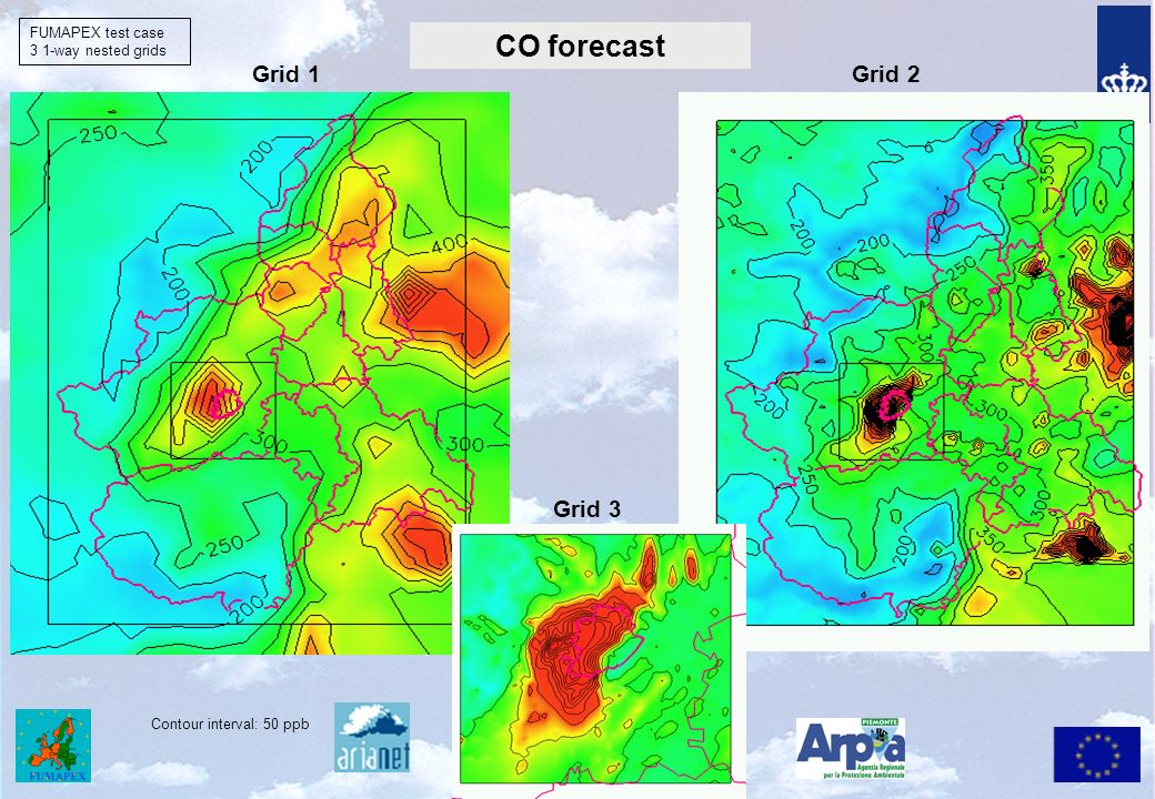 CO forecast CO 1st day h 22 - a Grid 1 FUMAPEX test case 3 1-way nested grids Grid 2 Contour interval: 50 ppb Grid 3