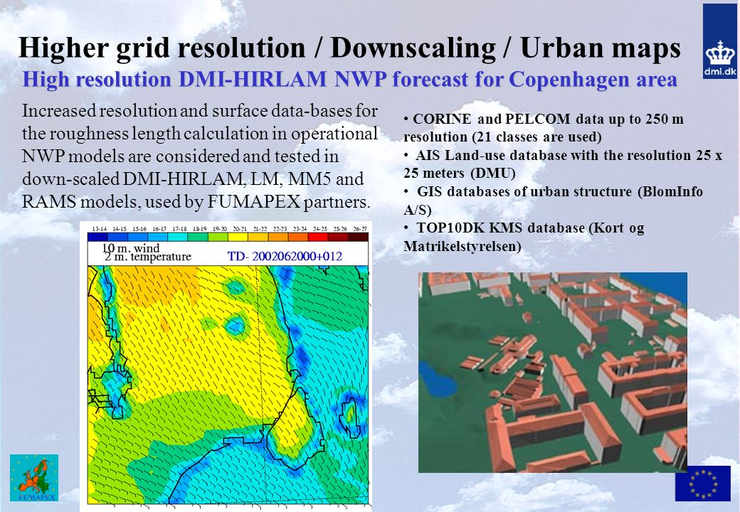 Higher grid resolution / Downscaling / Urban maps High resolution DMI-HIRLAM NWP forecast for Copenhagen area CORINE and PELCOM data up to 250 m resolution (21 classes are used) AIS Land-use database with the resolution 25 x 25 meters (DMU) GIS databases of urban structure (BlomInfo A/S) TOP10DK KMS database (Kort og Matrikelstyrelsen) Increased resolution and surface data-bases for the roughness length calculation in operational NWP models are considered and tested in down-scaled DMI-HIRLAM, LM, MM5 and RAMS models, used by FUMAPEX partners.