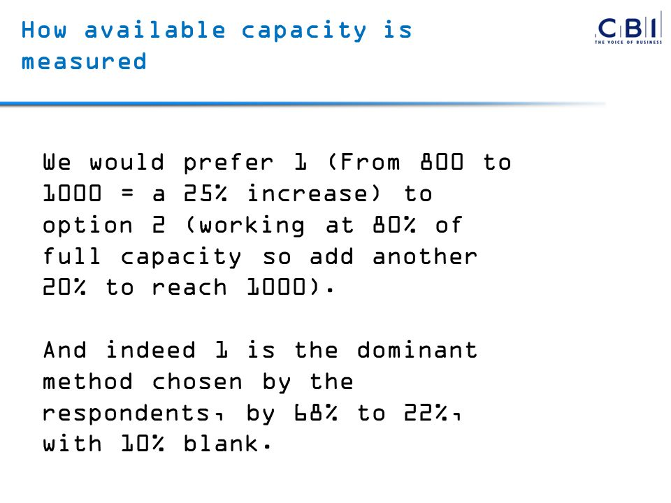 How available capacity is measured We would prefer 1 (From 800 to 1000 = a 25% increase) to option 2 (working at 80% of full capacity so add another 20% to reach 1000).