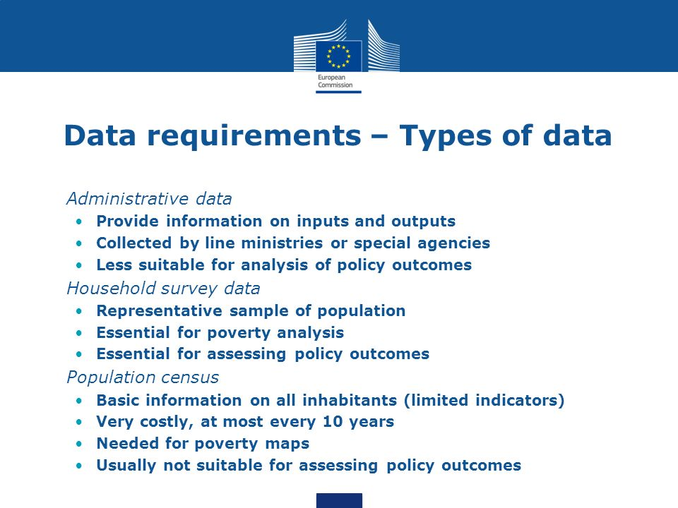 Data requirements – Types of data Administrative data Provide information on inputs and outputs Collected by line ministries or special agencies Less