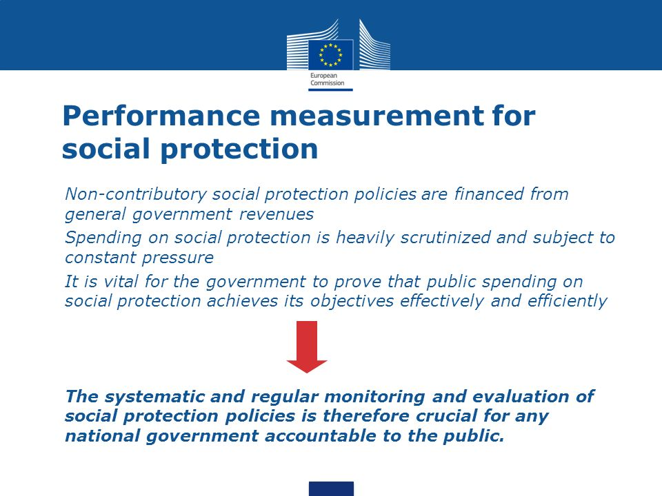 Performance measurement for social protection Non-contributory social protection policies are financed from general government revenues Spending on so