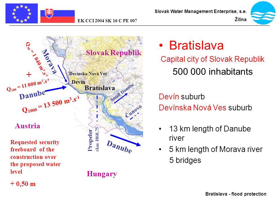 Bratislava - flood protection Slovak Water Management Enterprise, s.e. Žilina EK CCI 2004 SK 16 C PE 007 Bratislava Capital city of Slovak Republik 50