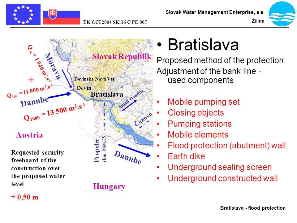 Bratislava - flood protection Slovak Water Management Enterprise, s.e. Žilina EK CCI 2004 SK 16 C PE 007 Bratislava Proposed method of the protection