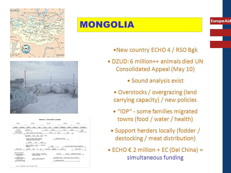 EuropeAid MONGOLIA New country ECHO 4 / RSO Bgk DZUD: 6 million++ animals died UN Consolidated Appeal (May 10) Sound analysis exist Overstocks / overgrazing (land carrying capacity) / new policies IDP - some families migrated towns (food / water / health) Support herders locally (fodder / destocking / meat distribution) ECHO 2 million + EC (Del China) = simultaneous funding