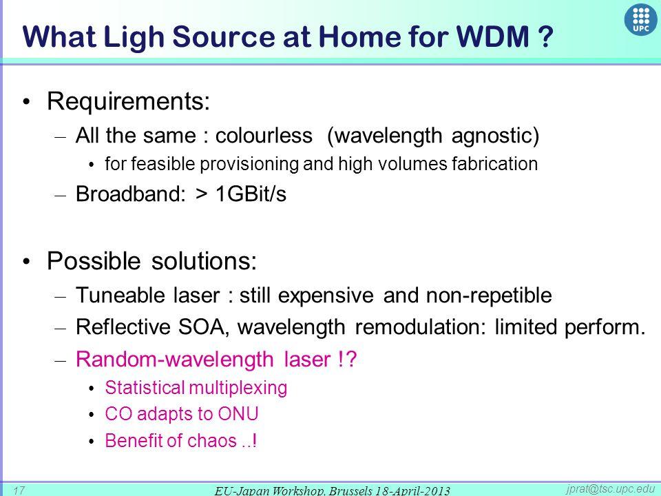 EU-Japan Workshop, Brussels 18-April-2013 17 jprat@tsc.upc.edu What Ligh Source at Home for WDM .