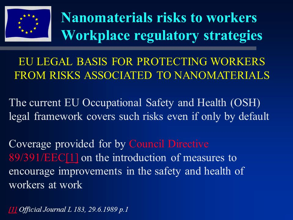 Nanomaterials risks to workers Workplace regulatory strategies EU LEGAL BASIS FOR PROTECTING WORKERS FROM RISKS ASSOCIATED TO NANOMATERIALS The current EU Occupational Safety and Health (OSH) legal framework covers such risks even if only by default Coverage provided for by Council Directive 89/391/EEC[1] on the introduction of measures to encourage improvements in the safety and health of workers at work[1] [1] Official Journal L 183, 29.6.1989 p.1