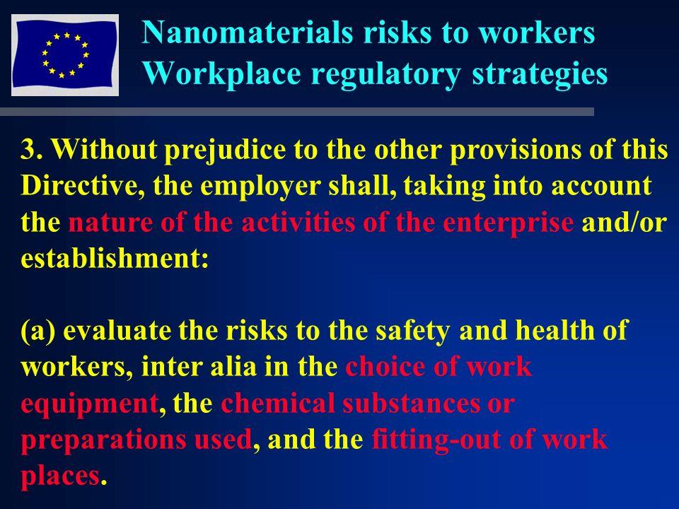 Nanomaterials risks to workers Workplace regulatory strategies 3.