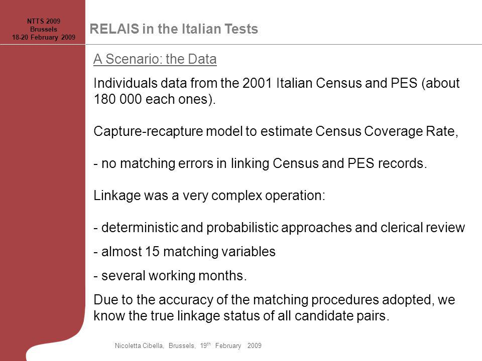 A Scenario: the Data Individuals data from the 2001 Italian Census and PES (about 180 000 each ones).